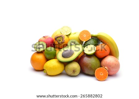 Assortment of exotic fruits - stock photo