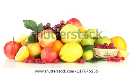 Assortment of exotic fruits and berries, isolated on white