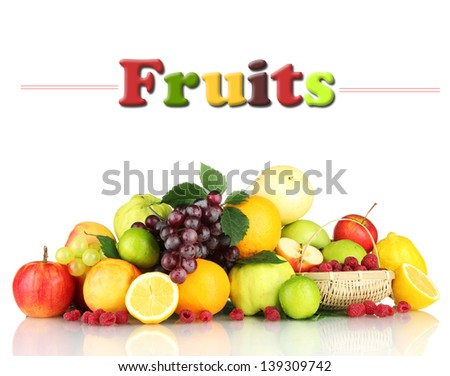 Assortment of exotic fruits and berries, isolated on white - stock photo