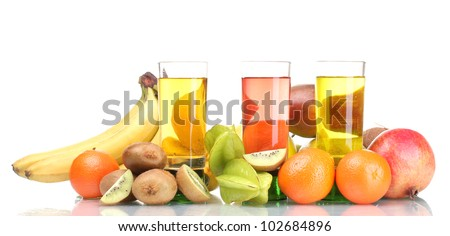Assortment of exotic fruits and juice isolated on white - stock photo