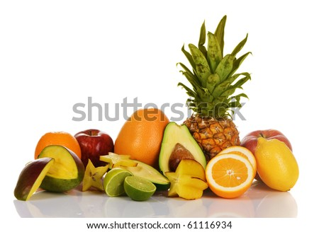 Assortment of exotic fruits, isolated on white - stock photo