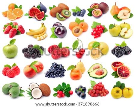 Assortment of fresh fruit isolated on white backgrounds. - stock photo