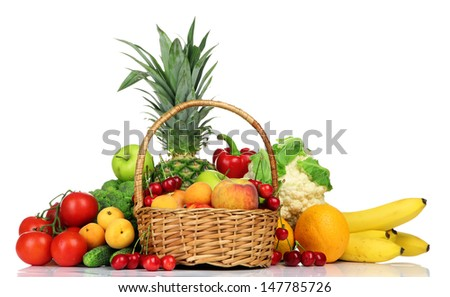 Assortment of fresh fruits and vegetables, isolated on white - stock photo