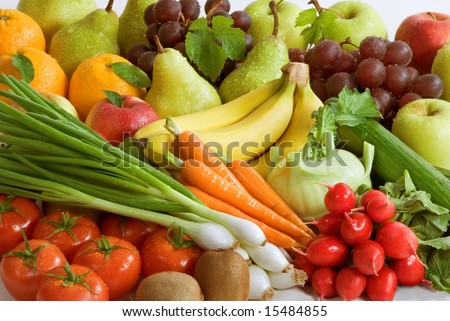 Assortment of fresh vegetables and fruit - stock photo