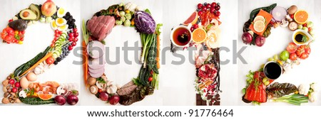 Assortment of Fresh Vegetables and Meats Arranged in 2012