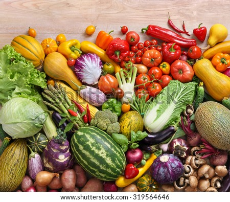 Assortment of fresh vegetables / food photography of the variety of vegetables at the market - stock photo