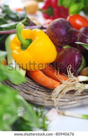 Assortment of fresh vegetables, selective focus - stock photo