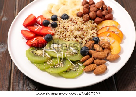 assortment of fruit and quinoa
