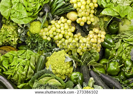 Assortment of fruits and vegetables  Fresh fruits and vegetables background - stock photo