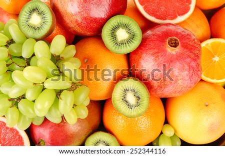 Assortment of fruits close-up - stock photo