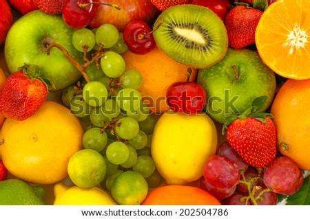 Assortment of fruits, white background   - stock photo