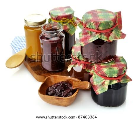 Assortment Of Homemade Jam In The Glass Jars - stock photo