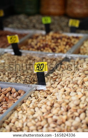 Assortment of olives on local market,Tel Aviv,Israel  - stock photo
