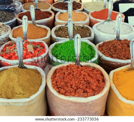 Assortment of powder spices - stock photo