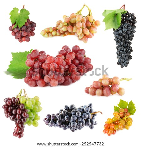 Assortment of ripe sweet grape isolated on white - stock photo