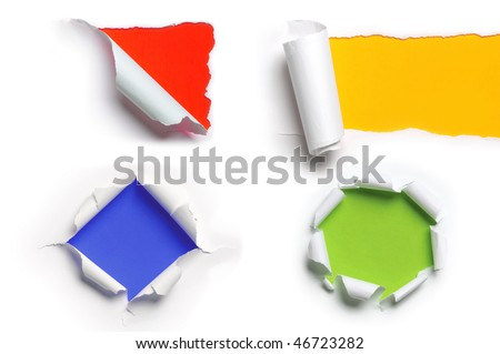 Assortment of ripped white paper against a colorful backgrounds - stock photo