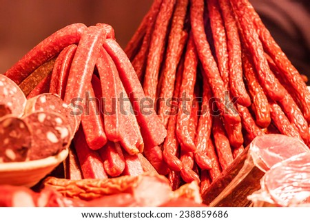 Assortment of sausages at Christmas market - stock photo