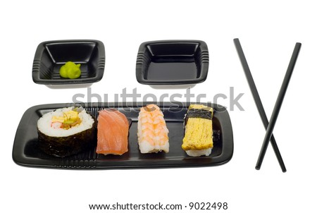 assortment of sushi on a plate,  isolated on a white backgroud