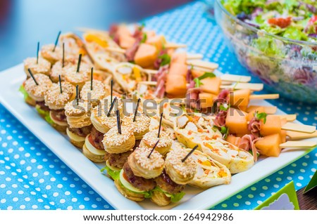 Assortment of tasty appetizers - mini burgers, cheesy canapes, pita with meat chicken and vegetables on the white plate and blue dotted  blanket - stock photo