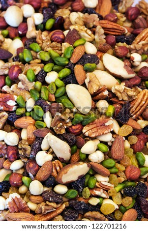 assortment of tasty nuts background