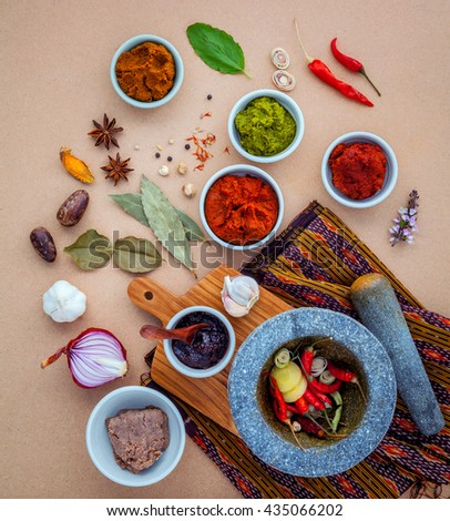 Assortment of  Thai food Cooking ingredients spice taste . Healthy and delicious foods. Paste of thai popular food red curry and green curry. Chili paste of  Thai food Cooking ingredients. - stock photo