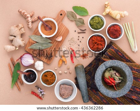 Assortment of  Thai food Cooking ingredients spice taste . Healthy and delicious foods. Paste of thai popular food red curry and green curry. Chili paste of  Thai food Cooking ingredients.
