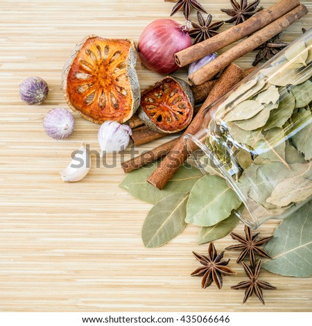 Assortment of  Thai food Cooking ingredients spice taste in the glass bottle. Healthy and delicious foods.  Dried of Thai food Cooking ingredients