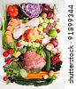 Assortment of Various Healthy Foods. Vegetables, Meats, Fruit, Oil, Nuts, Berries and Fish - stock photo