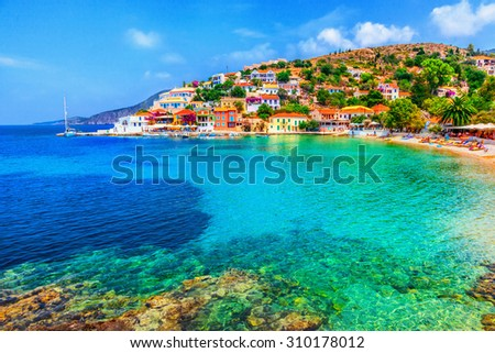 Assos beach in Kefalonia, Greece - stock photo