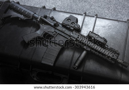 assult rifle right side on the rifle case - stock photo