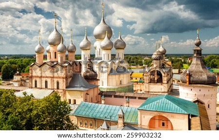 Assumption Cathedral and church of the Resurrection in Rostov Kremlin, Rostov the Great, Russia. Included in World Heritage list of UNESCO - stock photo