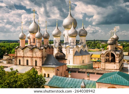 Assumption Cathedral and church of the Resurrection in Rostov Kremlin, Russia. Included in World Heritage list of UNESCO - stock photo