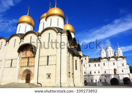 Assumption Cathedral, Kremlin, Moscow, Russia - stock photo