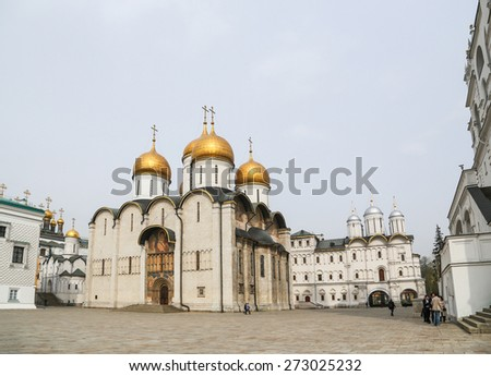 Assumption of the Birth-giver of God Cathedral at Moscow Kremlin in Russia. - stock photo