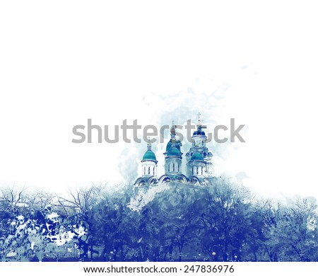 Assumption of the Virgin Church in Astrakhan, Russia in winter day. A lot of copyspace. Watercolor painting - stock photo