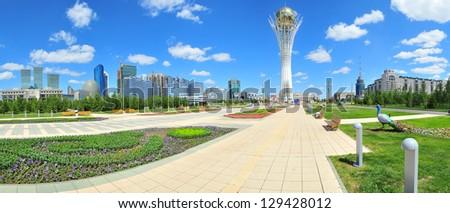ASTANA - JUNE 26: Baiterek landmark, symbol of Astana, capital of Kazakhstan, 26 June 2010, Astana, Kazakhstan. - stock photo