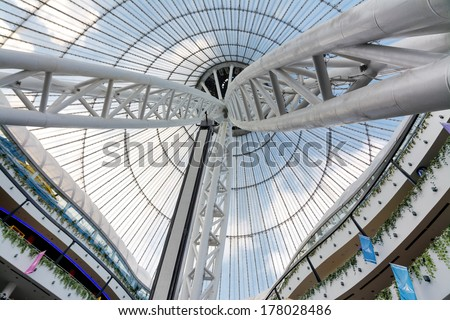 "ASTANA, KAZAKHSTAN - AUG 13, 2013: Inside in the Khan Shatyr (""Royal Marquee"") -  a giant transparent tent in Astana, the capital city of Kazakhstan."