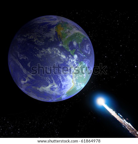 Asteroid and Earth (Collage from images from www.nasa.gov) - stock photo