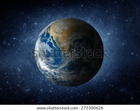 Asteroid and Earth. Elements of this image furnished by NASA. - stock photo