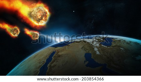 asteroid and earth meteors coming - stock photo