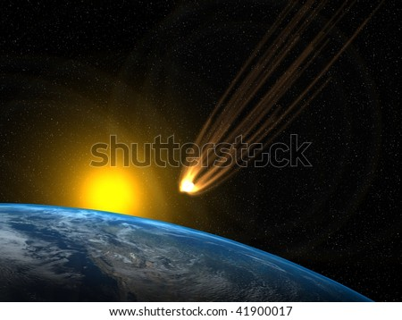 Asteroid and planet Earth with the Sun in he background - stock photo