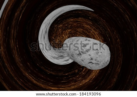 Asteroid comes nearer from abstract twirled space.Digitally generated image. - stock photo