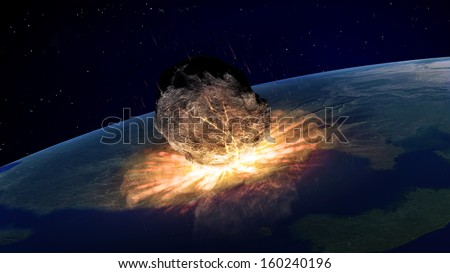 Asteroid falling on Earth illustration - stock photo