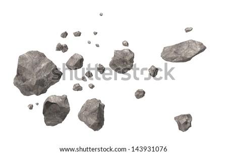 Asteroid Field - stock photo