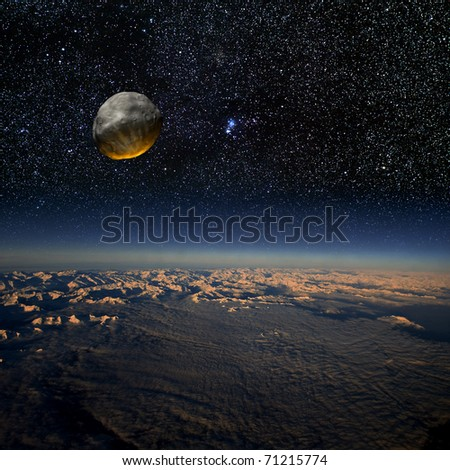 Asteroid impact on Earth. Combination of real photographs and 3D rendering. Large image.
