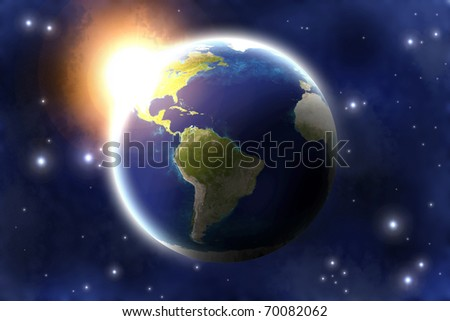 Asteroid impact on planet Earth. - stock photo