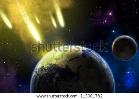 Asteroid in deep space coming to Earth. End of time. Apocalypse (elements furnished by NASA). - stock photo