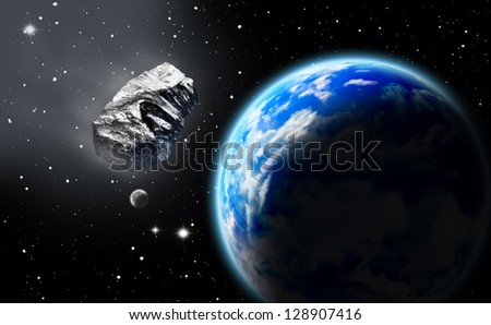 Asteroid in space approaching earth. (All art elements made by me) - stock photo