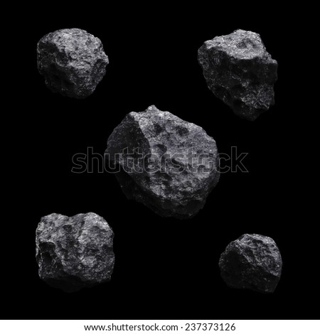 Asteroid isolated set 3d render on black background easily applicable for your concept - stock photo