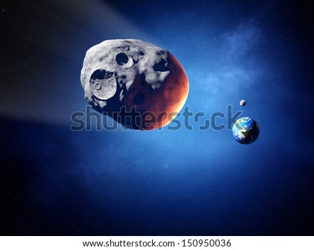 Asteroid on collision course with earth (Elements of this image furnished by NASA ) - stock photo